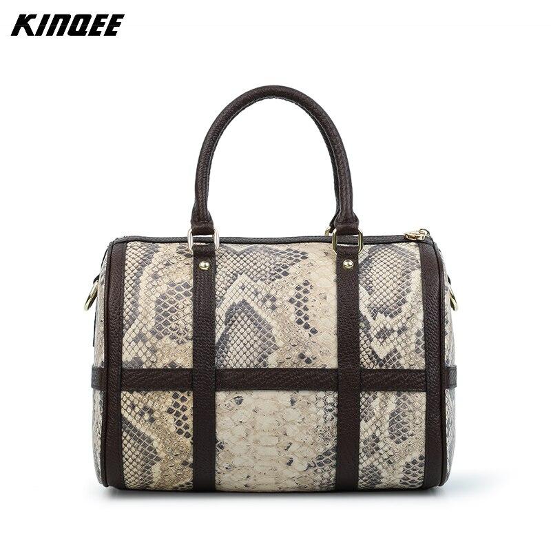 Messenger Bags Boston Handbag Women Patchwork Python Snake Crossbody Bags Bolsa Feminina Split Leather Designer High Quality