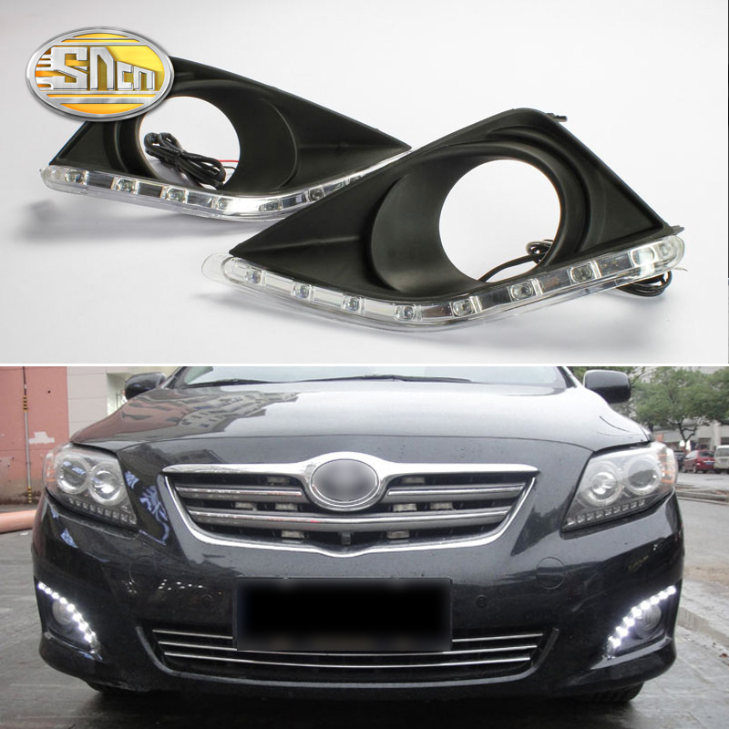 For Toyota Corolla 2010 2009 2008 2007,Waterproof ABS 12V Car DRL LED Daytime Running Light With Fog Lamp Hole SNCN