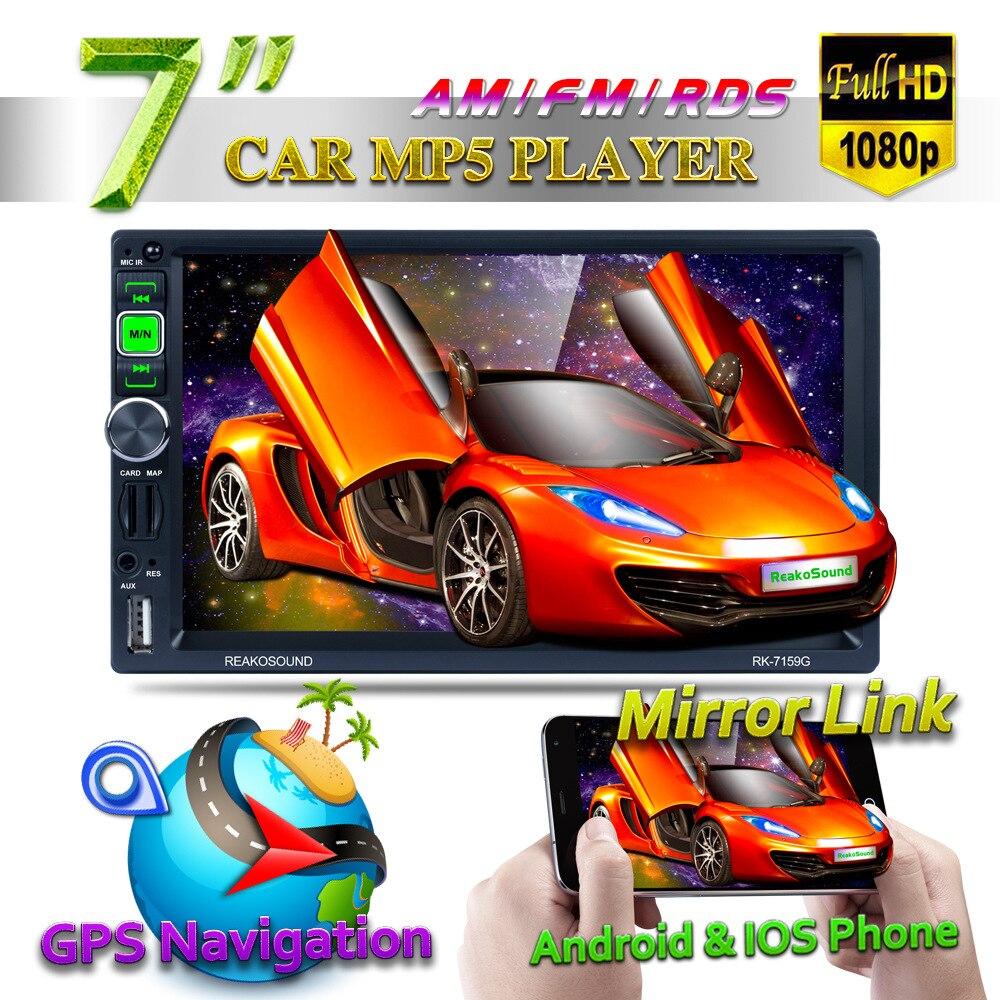 "2 Din Car Multimedia Player 7"" Full HD 1080P Car MP5 Player GPS Navigator Bluetooth AM/RDS/FM Radio Mirror Link or Andriod&IOS"