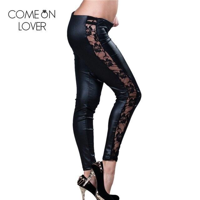 TE2037 Comeonlover Новые популярные высококачественные кожаные леггинсы 2017 модные женские pu брюки горячий продавать кружева черные леггинсы