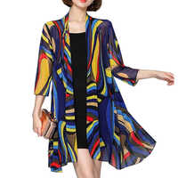 SexeMara 2019 New Summer Women Blouse Casual Rouge Long Chiffon Kimono Cardigan Feminino Long Sleeve Plus Beach Cardigan