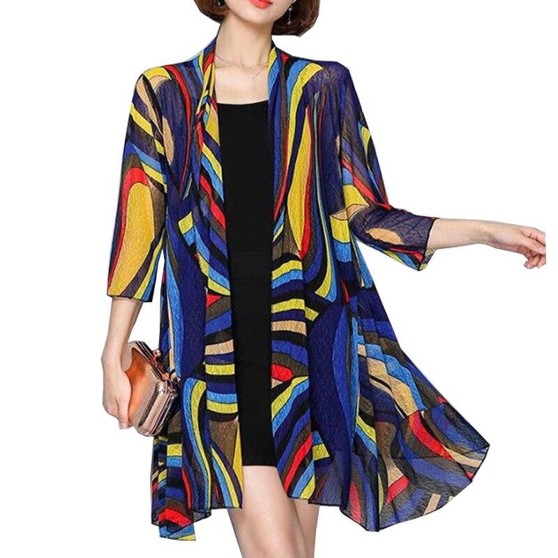 SexeMara 2019 nouveau été femmes Blouse décontracté Rouge Long mousseline de soie Kimono Cardigan Feminino à manches longues Plus Cardigan de plage