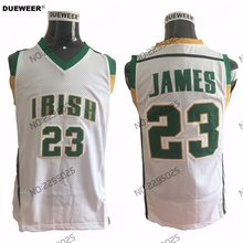 a3ccc7befd2 DUEWEER Mens Throwback St. Vincent Mary High School Irish 23 LeBron James  Basketball Jerseys White