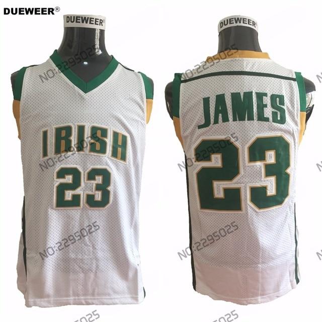 4b98b5ba5e1e DUEWEER Mens Throwback St. Vincent Mary High School Irish 23 LeBron James  Basketball Jerseys White LeBron James Stitched Jerseys
