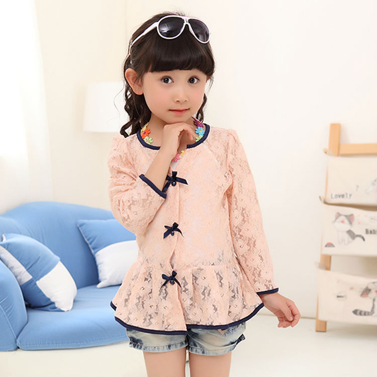 12390f2a0a41 Children Girls Floral Lace Sunshine Protecting Coat Baby Girl Summer ...