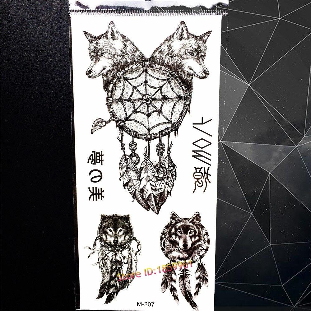 c40845a161707 Black Wolf Dreamcatcher Designs Temporary Tattoo Sticker Women Men Body Art  Flash Fake Tattoo Indian Feather Dream Catcher Tatoo