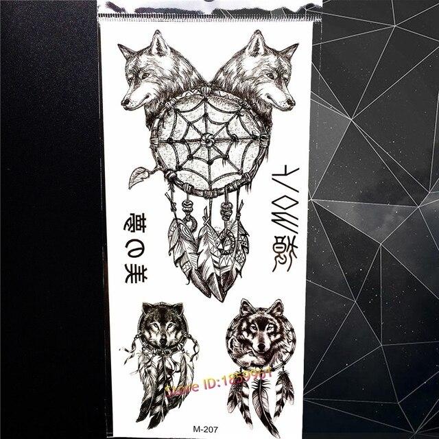 Loup Noir Dreamcatcher Conceptions De Tatouage Temporaire