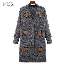 MISSFEBPLUM Plus Size 2017 Fashion Autumn Winter Cardigan Sweater Women Cartoon Bear Cute Casual Long Outerwear Warm Cardigans