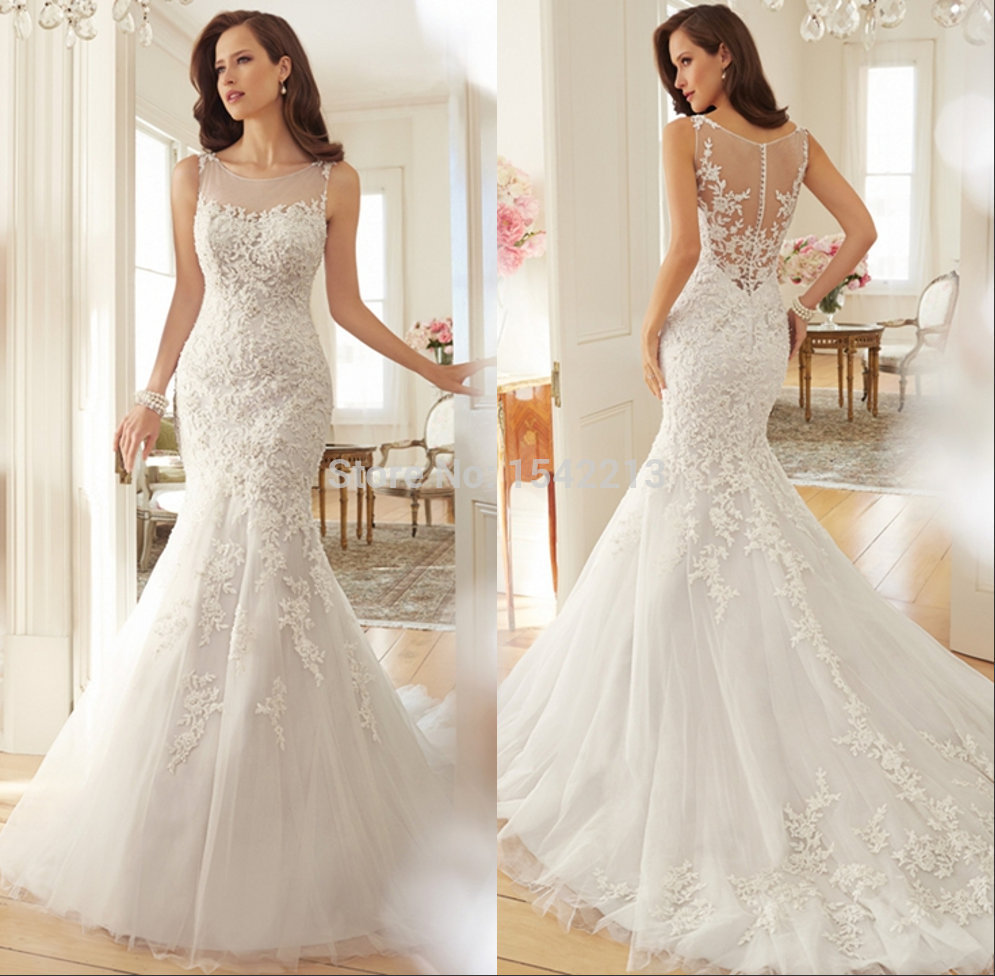 Cheap Elegant Wedding Dresses: Customized Elegant Wedding Lace Dresses Mermaid Vintage
