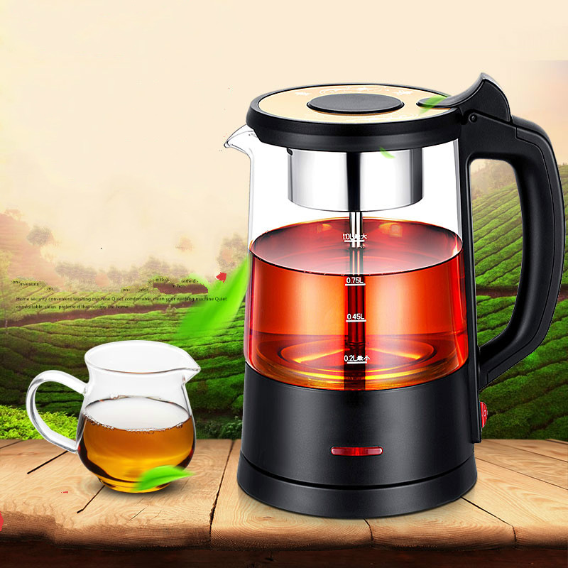 Black tea brewed machine glass automatic steam boiling pu 'er flower teapot insulation/electric kettle chinese yunnan pu er tangerine peel tea f47