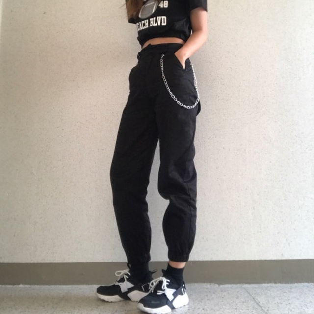 High waist loose joggers army pants street wear black cargo pants trousers 5