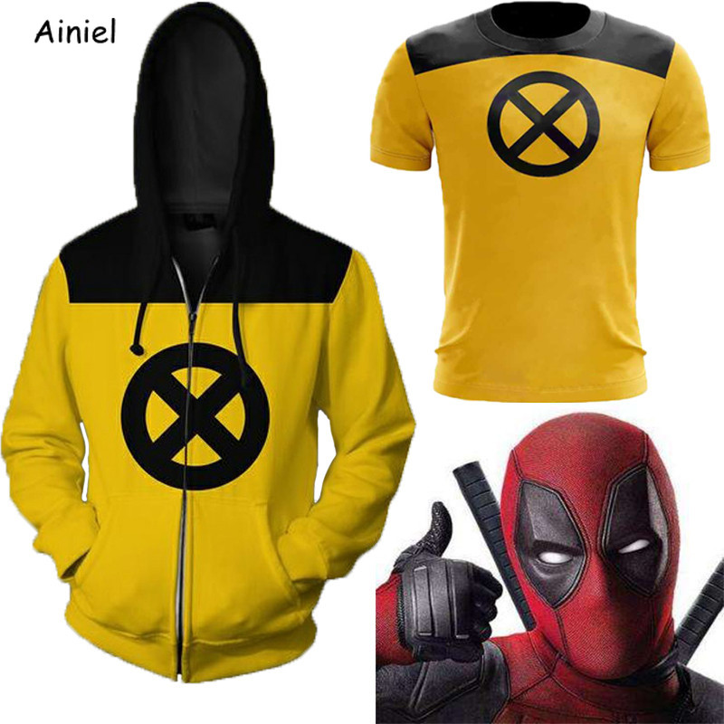 Kids Deadpool Costume Deadpool Sweatshirt X-Force Yellow Slim T-shirt Hoodies Sweatshirts Top Jackets Coat Cosplay for Adult Men