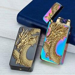 Mais novo dragon tiger eagle carregamento usb elétrico duplo arco plasma eletronic à prova de vento isqueiros para cigarros fumante presentes charuto