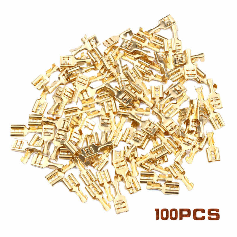 100Pcs Female/Male Crimp Terminal 2.8/ 4.8mm/6.3mm Connector Gold Brass Car Speaker Electric Wire Connectors Crimping Terminals
