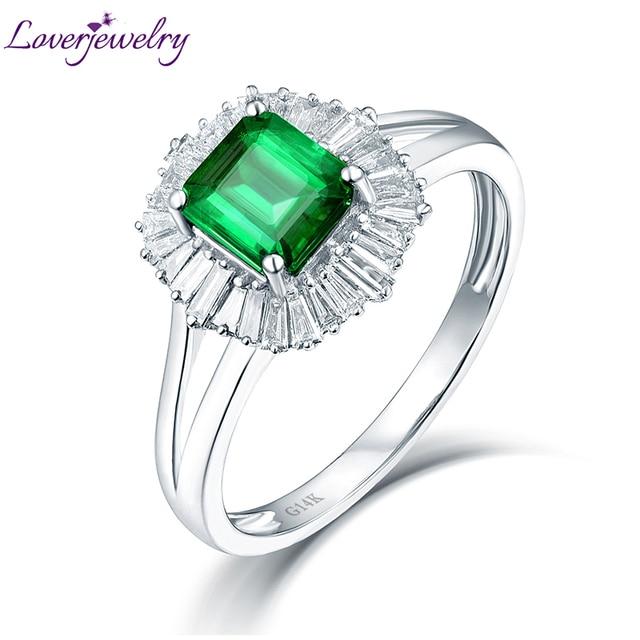 Popolare Lusso Baguette Diamante Naturale Colombia Smeraldo Anello di  CS15