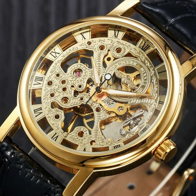 2017 Men's Watch Mechanical Hand-wind Leather Crystal Analog Wristwatch Leather
