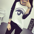 2016 Fashion Summer Loose T-shirt Large Size Printing Long Sleeve Section Bottoming Shirt Cotton Lager Size T-shirt A281