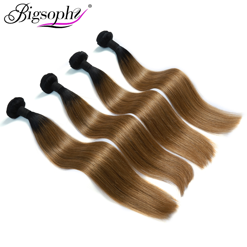 Bigsophy Peruvian Hair Weave Bundles Human Hair 4 Bundles Remy Hair Extension Ombre Color 2 Tone 1B/27 Can Buy 3/4 Bundles