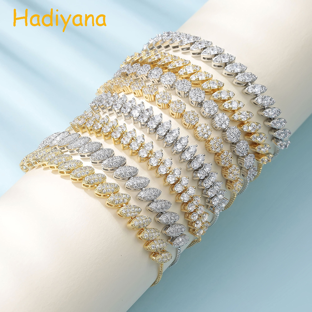 Hadiyana Luxury AAA Cubic Zirconia Bracelet Female 2018 Adjustable Copper Vintage Bracelets Jewelry Acessories For Party SL046