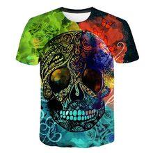 Summer Multicoloured  hot style New Mens Skull Poker Print Men Woman Short Sleeve Casual Breathable 3D T Shirt
