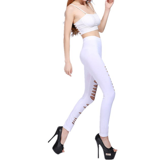 Sexy Leggings Women Stretch Black Dancing Ripped Leggins Elastic Low Waist Pants Hot Ripped Pants