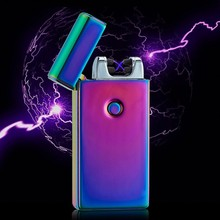 Double Fire Cross Twin Arc Pulse Electronic Cigarette Lighter Electric Colorful Charge Usb Lighters Gadgets for Men