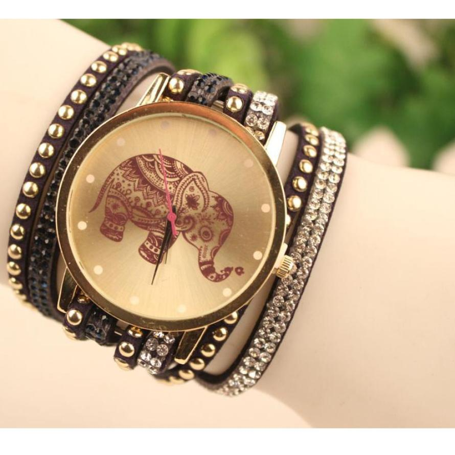 Hot 2017 Newly Designed Superior New Velvet Diamond Bracelet Watch Ladies Wrist Watches High Elephant Pattern Relogio Feminino