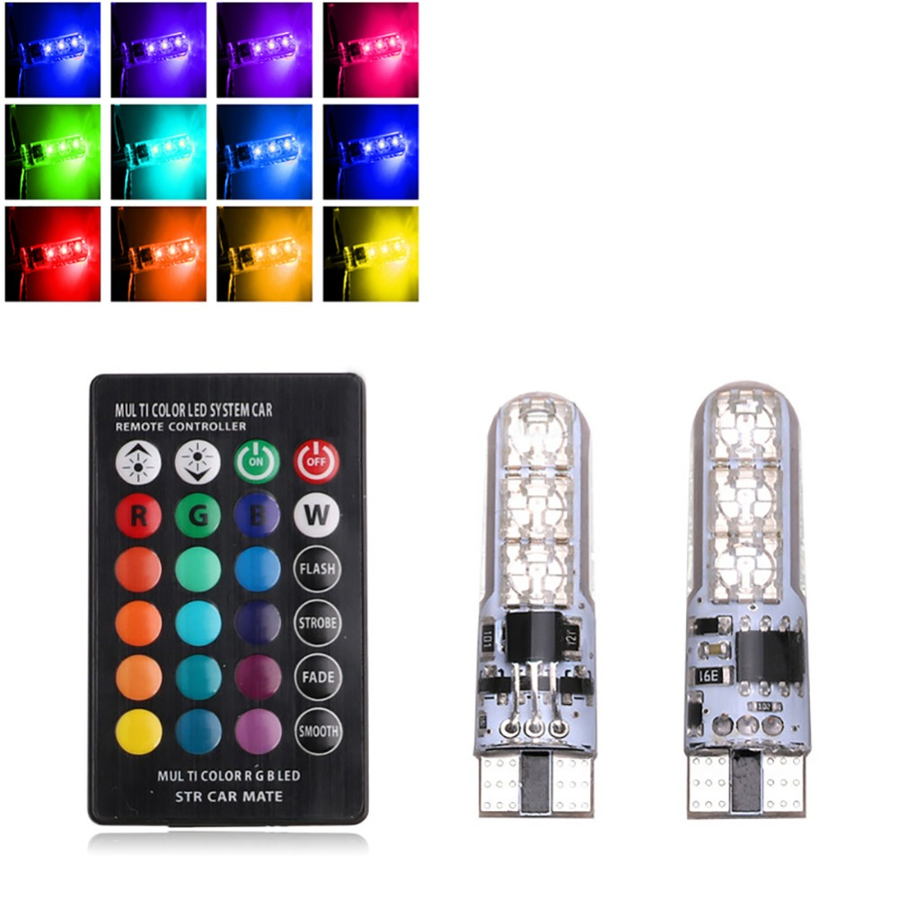 2pcs T10 6LEDs Bulb RGB 5050 SMD LED Car Lights Auto Wedge Side Light Lamp W / Remote Control Reading Lights License Plate Light