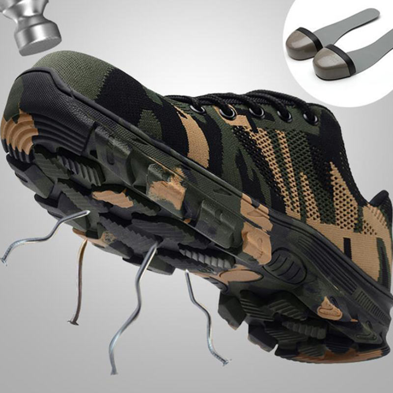 Men Work Boots Steel Toe Cap Shoes Male Work & Safety Camouflage Army Green Puncture Proof Boots Zapatos De Segurida