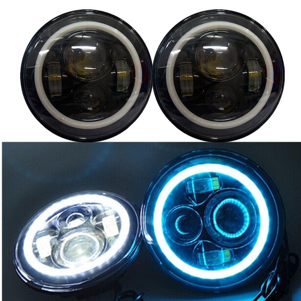 2PCS 7'' INCH 80W High/Low Beam projector headlights Lens Angel eyes DRL for Jeep Wrangler JK Harley Davidson lights lamp