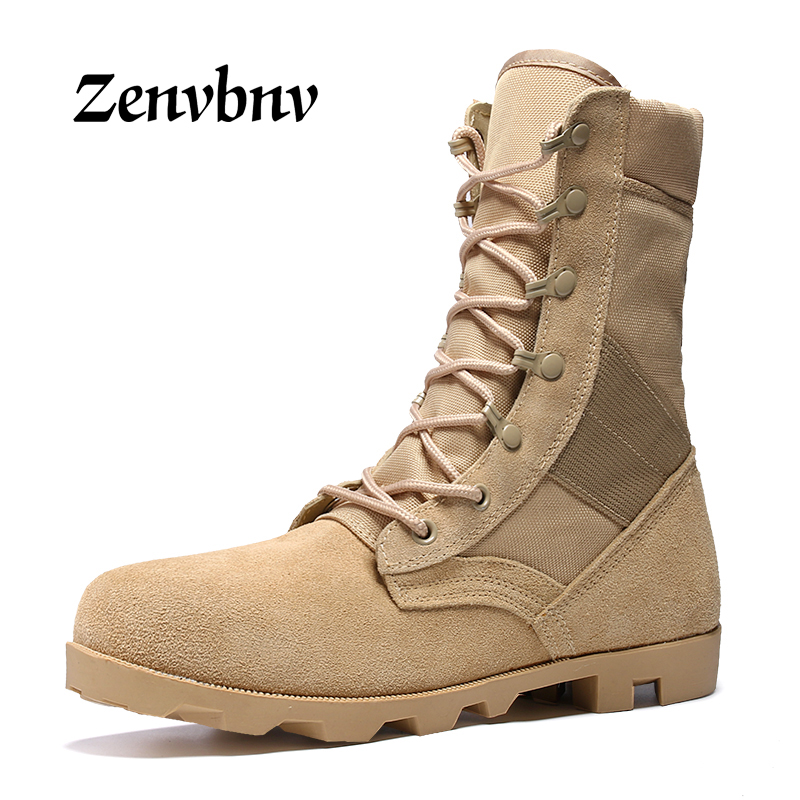ZENVBNV Winter Genuine Leather Men Boots Ankle Cow Suede Desert Boots Tactical Shoes Army Military Boots Men Black High Top men s desert military boots touch guy cow suede genuine leather ankle martin boot