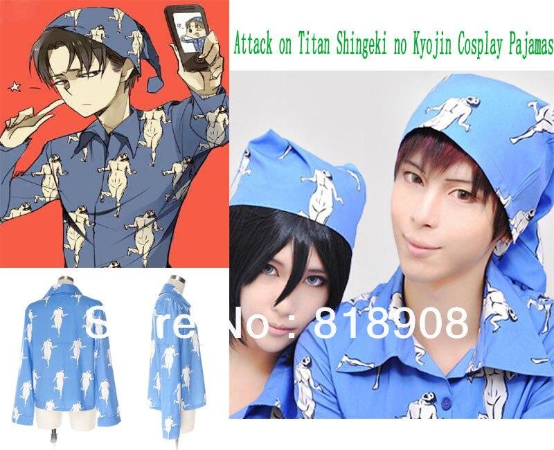 Livraison gratuite japonais anime attaque sur Titan Shingeki no Kyojin Cosplay pyjamas Costumes costume (chapeau + hauts + pantalons) 3 pièces/ensemble