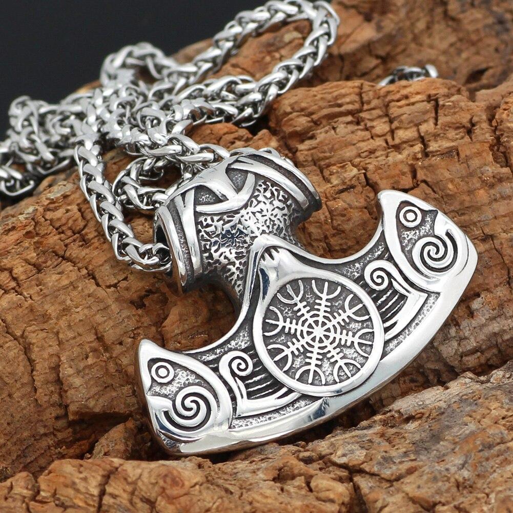 men stainless steel mamen viking vegvisir amulet axe pendant necklace