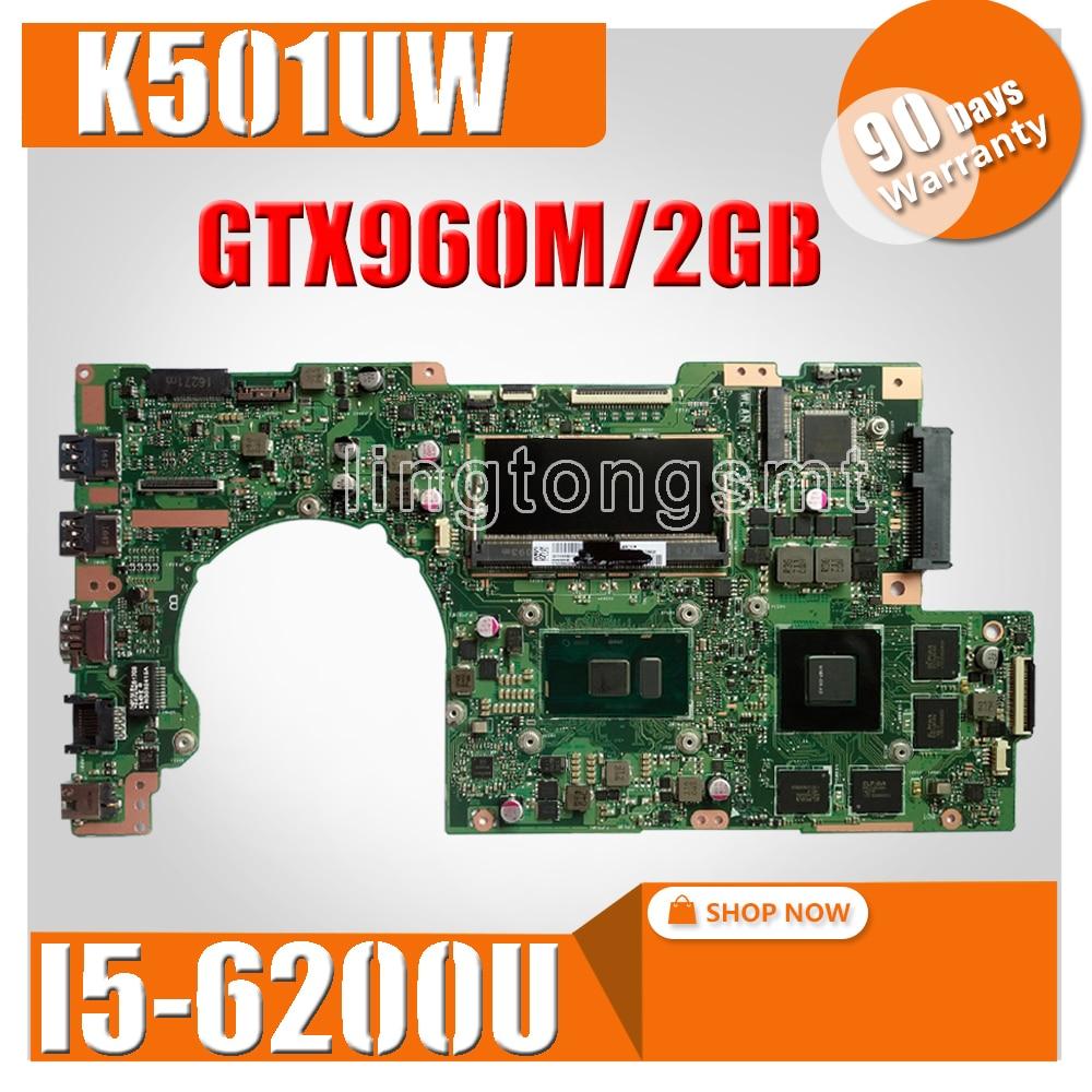 K501UW Laptop motherboard for ASUS K501UW K501UWK K501U K501 Test original mainboard DDR4-4G-RAM I5-6200U GTX960M/2GB  Graphic K501UW Laptop motherboard for ASUS K501UW K501UWK K501U K501 Test original mainboard DDR4-4G-RAM I5-6200U GTX960M/2GB  Graphic