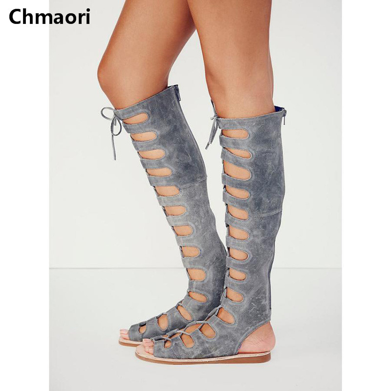 New arrival knee high boots cross strap cut-outs gladiator sandal boots suede open toe lace-up sandals summer women flat shoes шлепанцы souls шлепанцы