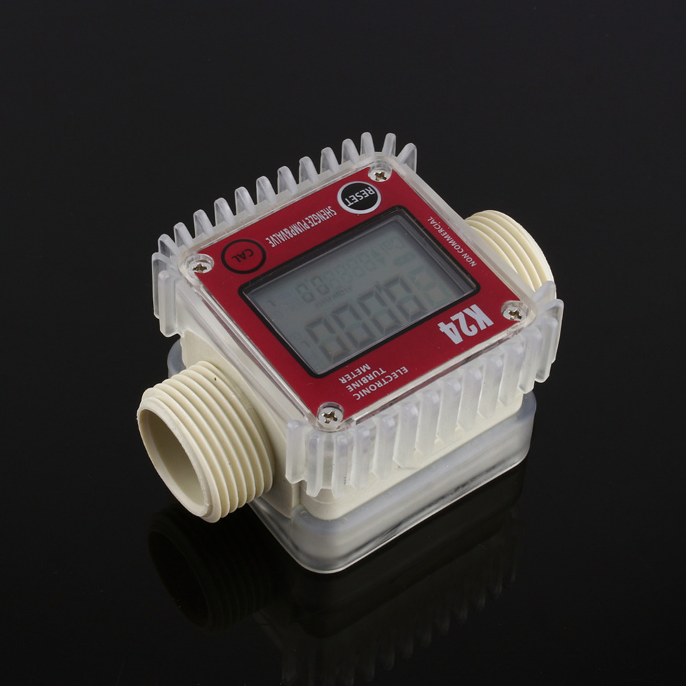 1 Pcs K24 LCD Turbine Digital Fuel Flow Meter for Chemicals Water Sea Adjust Color Blue and Red Random new arrival pro k24 digital fuel flow meter for chemicals water random color free shipping