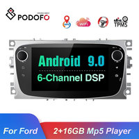 Podofo Car Multimedia DVD player Android 9.0 2 Din GPS Autoradio For Ford Focus Mondeo Kuga C MAX S MAX Galaxy Bluetooth Stereo