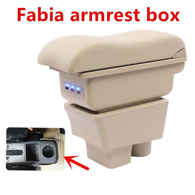 For Skoda Fabia 2008 2014Armrest font b Box b font Car Center Storage font b Box