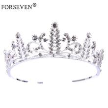 New Vintage Hair Crown Silver Crystal Baroque tiara Queen Wedding Crown For Bride Hair Accessories Rhinestones Hair Jewelry