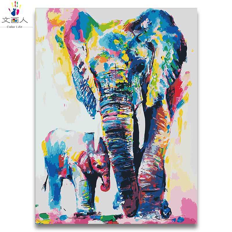 Animal world two Elephants diy paintings colorings by numbers animals on canvas draw paints colors by number for hoom decor