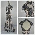 Mais novo Vintage Oco W3115 Real Imagem Preto Apliques Alta Neck Lace Sereia Vestidos de Noite Longo Vestidos Formais Vestido de Renda