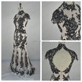 Newest Vintage Hollow Real Image Black Appliques W3115 High Neck Mermaid Lace Evening Dresses Long Formal Gowns Vestido de Renda