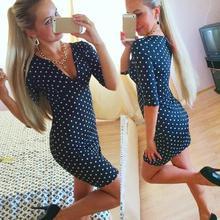 2015 New Arrival Fashion Womens Polka Dot Casual Short Sleeve Mini Dress Party Dress Free Shipping&Wholesale