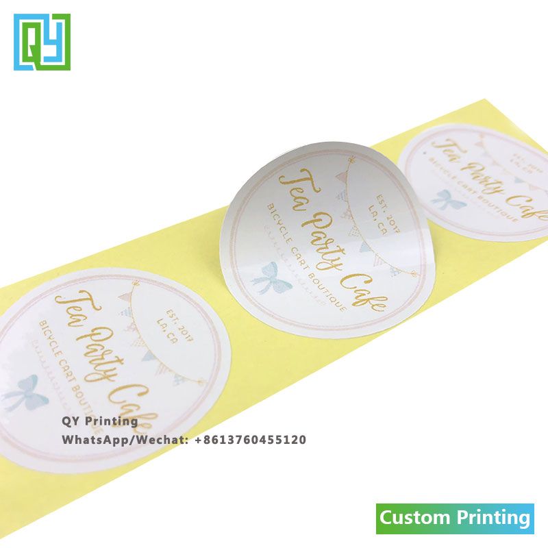 1000pcs 39x39mm Free shipping custom cosmetic label printing beer cable perfume customized stickers roll logo decorative