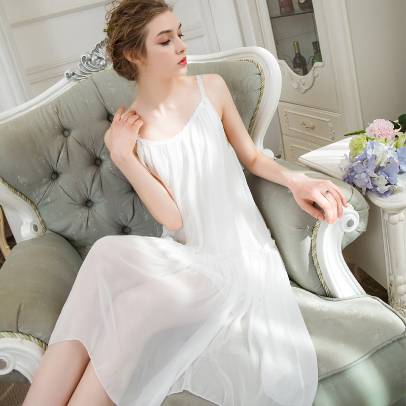 Light Soft Women   Nightgowns     Sleepshirts   Summer Chiffon Modal Nightdress Femme Sleepwear Slip Dress Home Clothes - Dropshipping