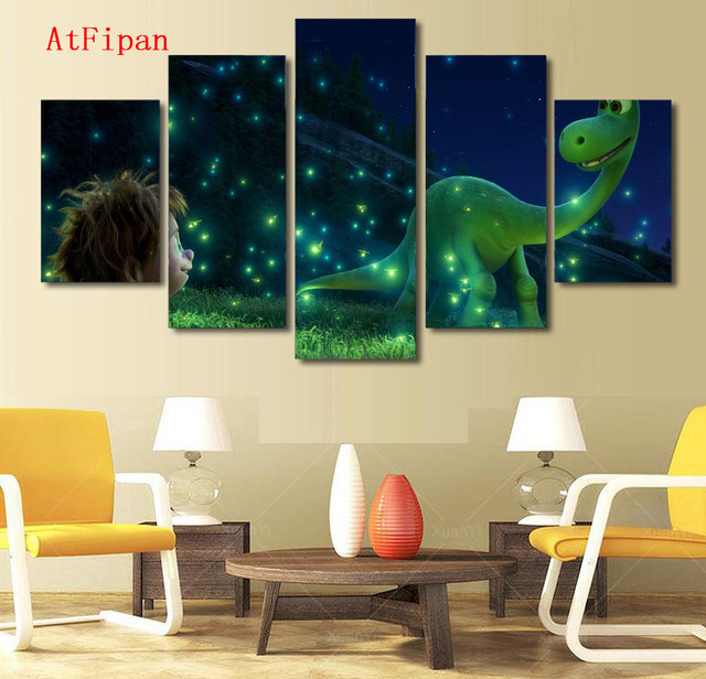 Atfipan Modern Wall Art Pictures For Living Room Cartoon The Good Dinosaur Human Home Decor Vintage Poster