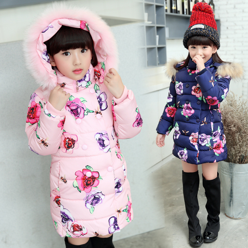 Thumbaby Winter Baby Girls Clothing Down Coat Kids Jackets & Coats Warm Outerwear Sweet Floral Prints Children
