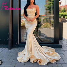 Long Mermaid Evening Dresses Satin Sweetheart  Prom Gowns Formal Dress Robe De Soiree 2019 african red prom dresses long sleeves gold appliques feathers satin formal mermaid evening dress 2019 black women robe de soiree