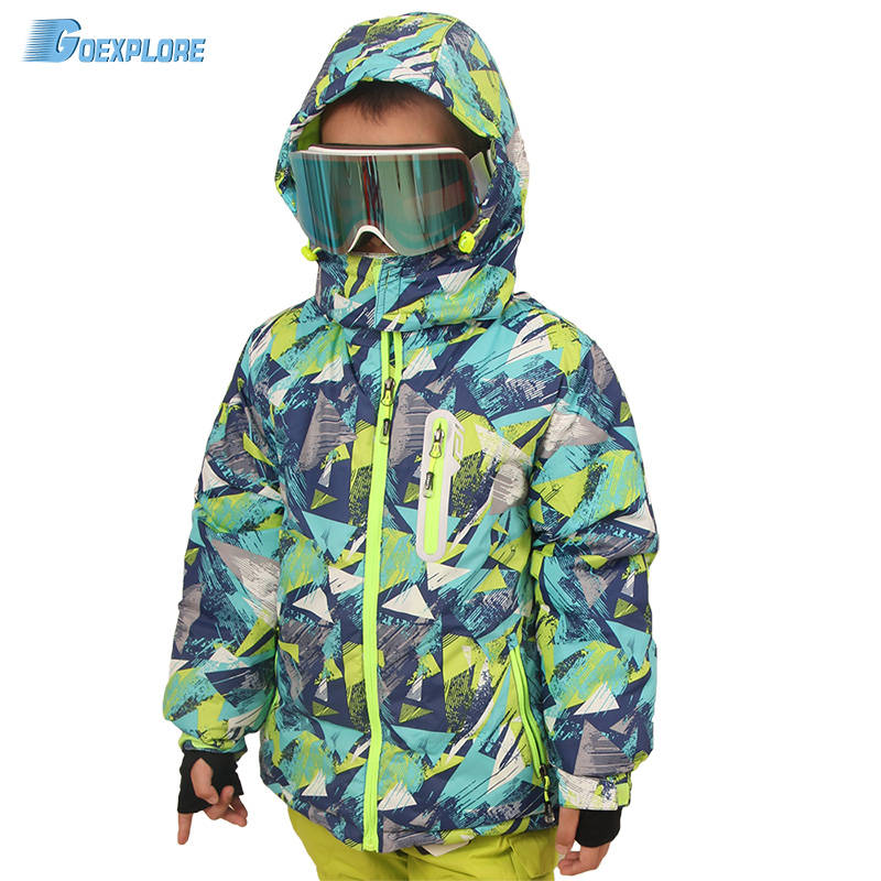 Goexplore Ski Jacket Children 110 164 Outdoor Waterproof Breathable Warm Winter Thicken Boys Girls Snow Snowboard