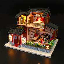 DIY House Children Adult Miniature Wooden Doll House Model Building Kits Dollhouse Toy Assembling Chinese Siheyuan Handmade(China)